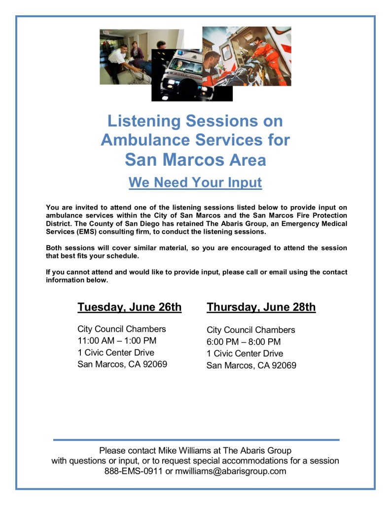 Listening Sessions on Ambulance Services for San Marcos Area | San ...