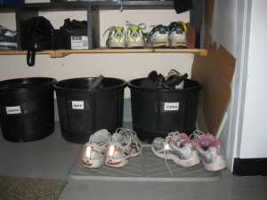 clutter free shoe bins/sanespaces.com
