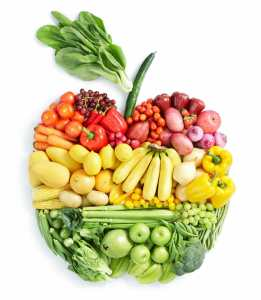 various vegetables and fruits in apple shape, healthy.