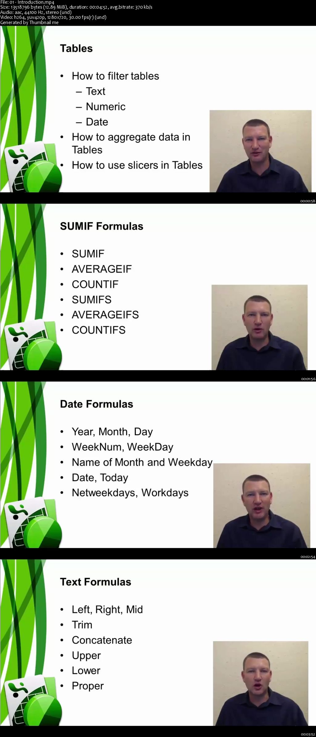 Download Tables And Formulas With Excel