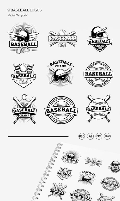 Download 9 Baseball Logos Vector Templates in [Ai/EPS/PSD