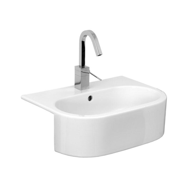 uni 54x40cm semi recessed washbasin 1 t h