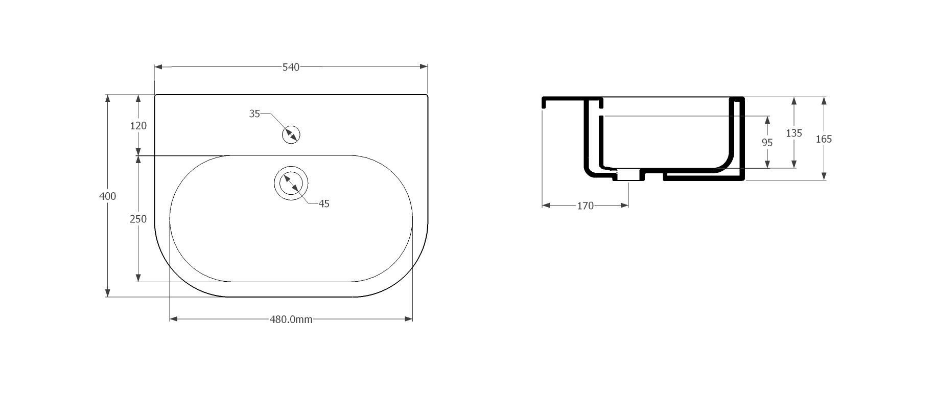 UNI 54x40cm semi-recessed washbasin No T/H