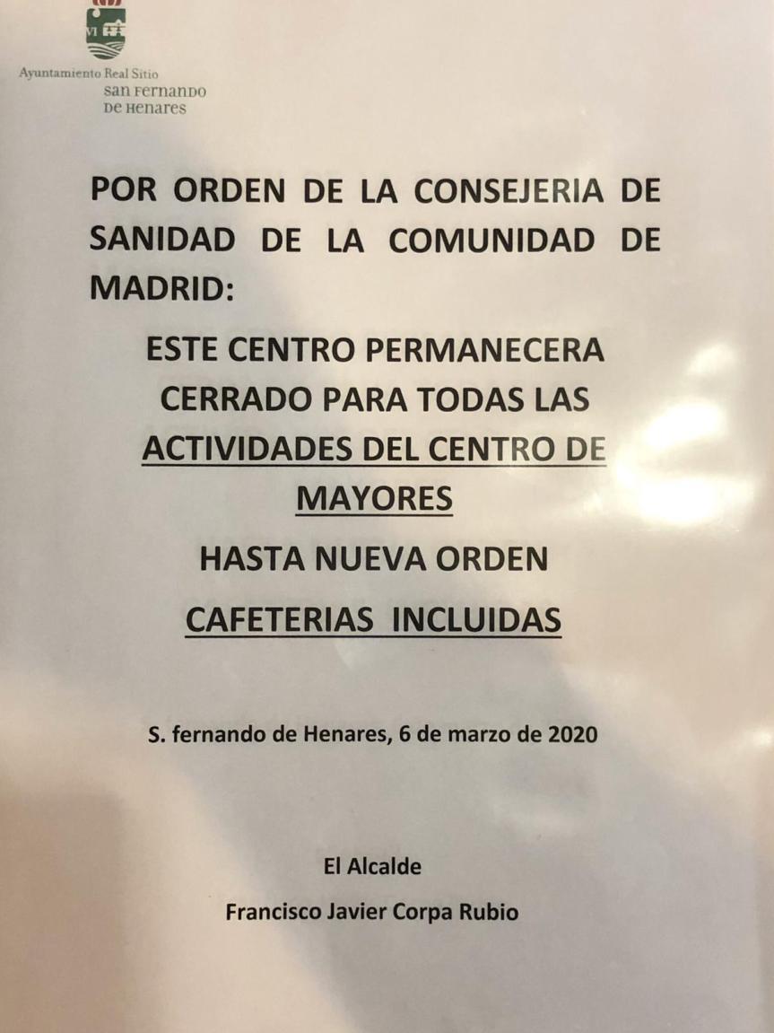 Cerrados los Centros de Mayores por recomendación del Gobierno regional