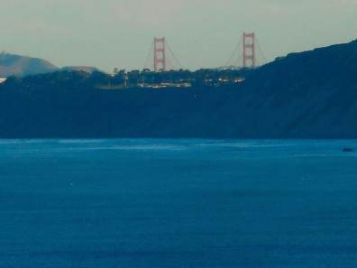 Photo taken from our windows: Blue Pacific Ocean and the Golden Gate Bridge.