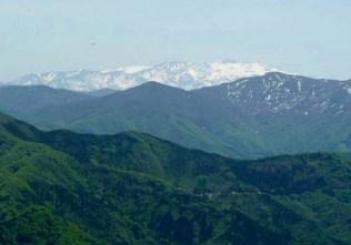 小倉谷山手前のピークから見る残雪の白山