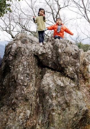 また,岩に登る。