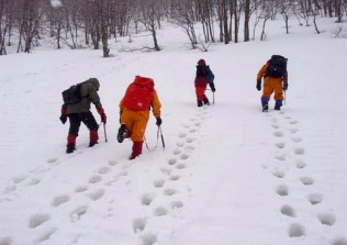 ⑧又訓練.グザグザの雪です。春ですねー。