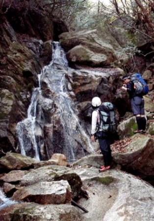 ⑤7m末広がり滝。直登も可。今回は左の棚を上ったが、苔がびっしり着いていて難儀する。