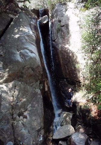 ⑥ナメ、小滝群の先に待っていたのは絶対登れない2条10m滝。ここは左岸を高巻く。
