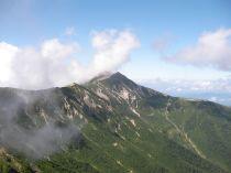 振り返って見る、笠ヶ岳
