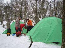 ②テント設営完了