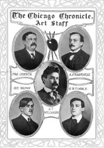 The art staff of the Chicago Chronicle, 1903; Alfred Harkness, top right.