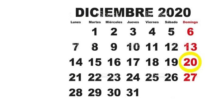 Calendario, mes de diciembre de 2020