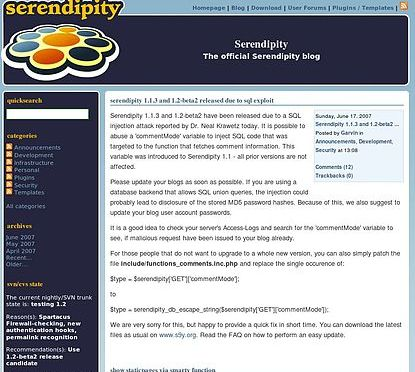 Serendipity: A PHP & Smarty Based Content Management System For Bloggers