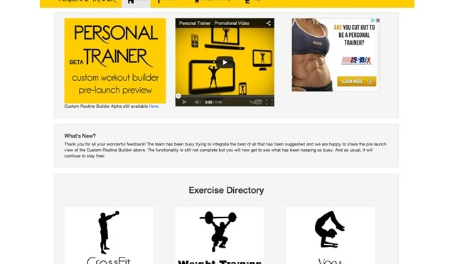 Online Personal WebApp For Learning Fitness Activities, Exercises, Workouts & Yoga
