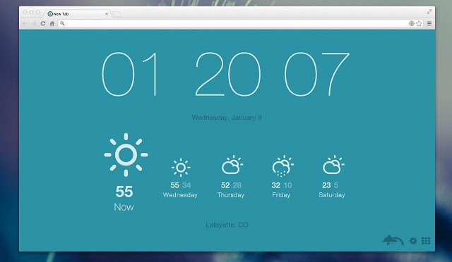 Replacing Google Chrome's New Tab Screen With Current Time & Weather