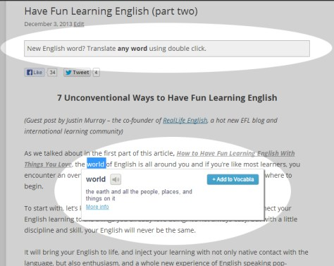 Easily Allow International Visitors To Translate English Words Or Know Definition In Double Click