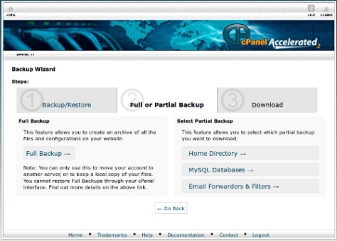 cPanel Full & Partial Backup Options