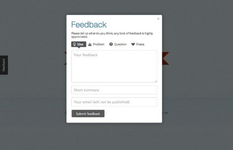 Usernoise modal feedback contact form