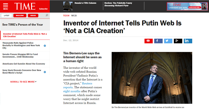 Time Magazine Has Now Made Tim Berners-Lee The Inventor Of Internet