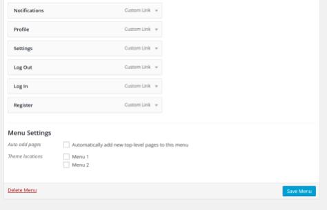 BuddyPress menu to WordPress navigation 3