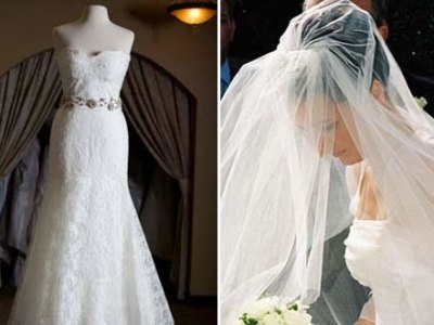 wedding gown with white veil