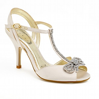 ivory diamante bow detail t-bar bridal shoes with high heels
