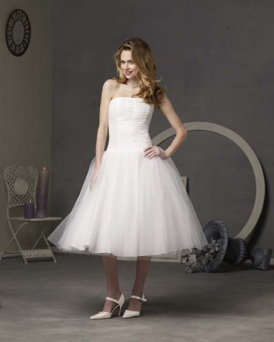 tea length lace ivory wedding dresses