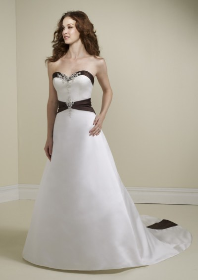 black and white strapless wedding gown