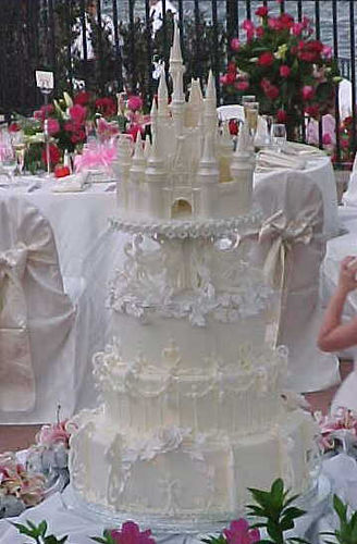 cinderella white castle wedding cake