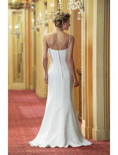 ivory strapless wedding dress with watteau train