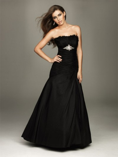 elegant strapless black wedding dresses