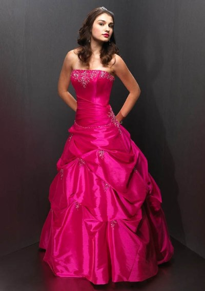 strapless wedding dress with red