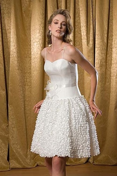 vintage organza short wedding dress