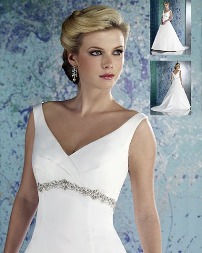 white v-neck wedding dress