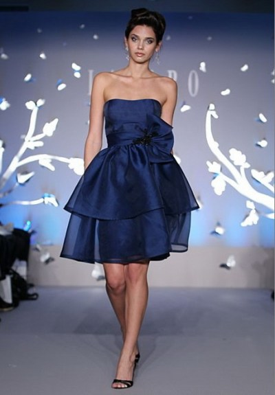 2012 lazaro blue bridesmaid dress
