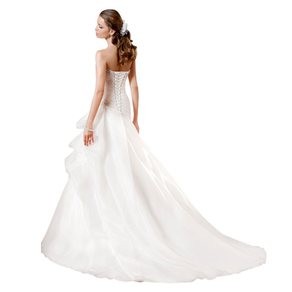 simple strapless white wedding dress