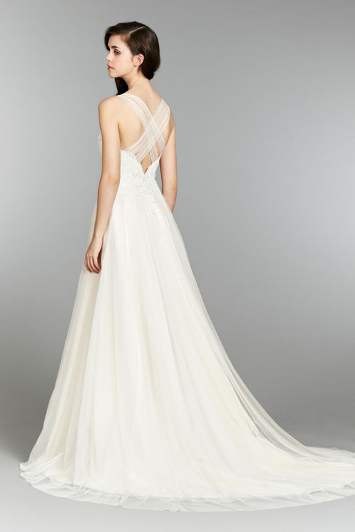 blush ivory bridal gowns with chapel train fall 2013 collection 02