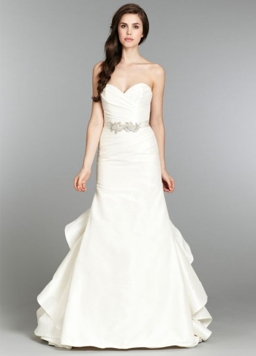 blush ivory bridal gowns with chapel train fall 2013 collection 05