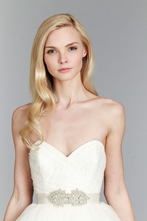 blush ivory bridal gowns with ruched bodice 03