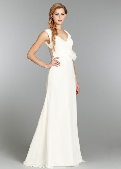 blush ivory bridal gowns with ruched bodice 04