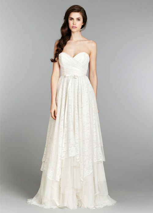 blush ivory strapless a-line bridal gown fall 2013 with skirt