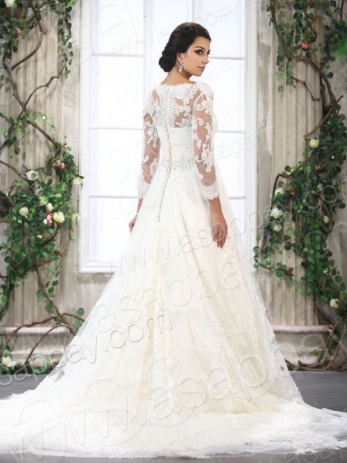 a-line lace wedding dress with 3/4 sleeves