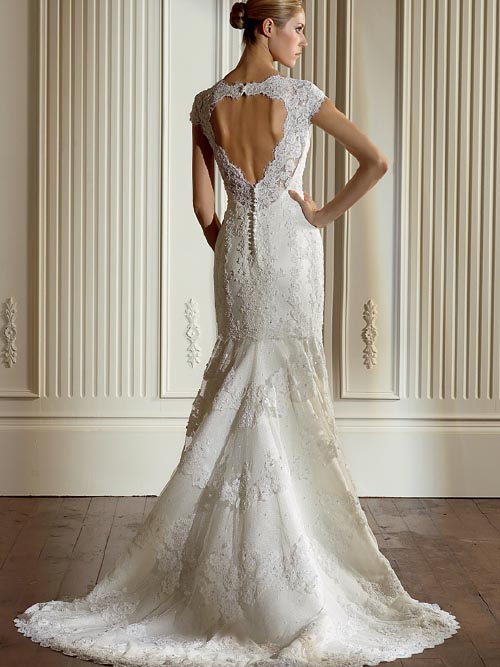 lace wedding dress with cap sleeves and open back