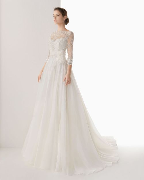 2014 organza wedding dress with long sleeves