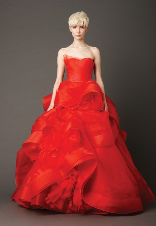 Vera Wang red strapless neckline wedding dress
