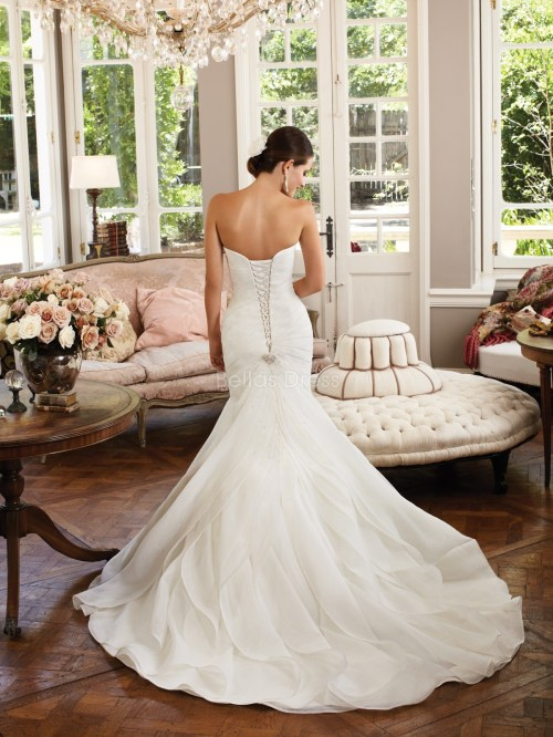 lace up organza dropped waist wedding dress with sweetheart neckline