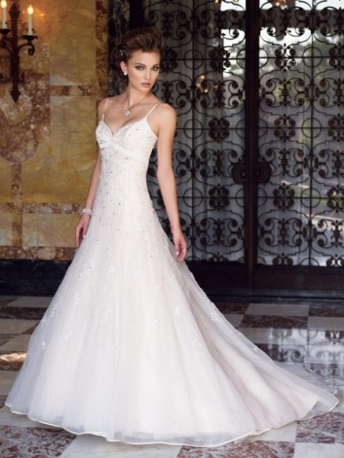 organza wedding dresses with straps