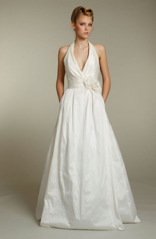 simple ivory halter wedding dress with pockets